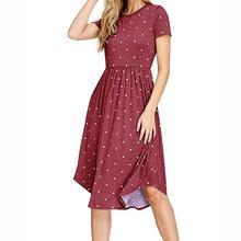 Women Summer Loose Elegant O-Neck European And American Wave Bohemian High Waist Large Swing Short Sleeve Midi Dress