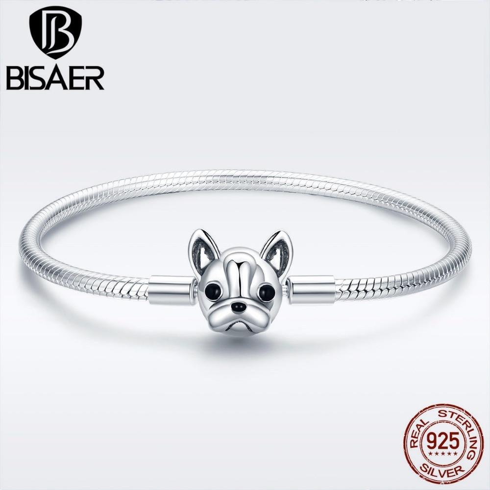 Armband Femme 925 Sterling Silber Französisch Bulldog Doggy Armbänder Für Frauen Tier Silber Schlange Kette Armbänder Armreifen Ecb075