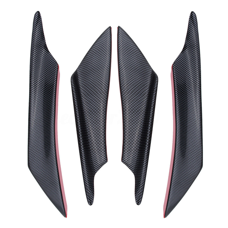 4pcs/set ABS Carbon Fiber Style Car Front Bumper Splitter Fins Lip Canards Trim Kit