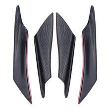 цена на 4pcs/set ABS Carbon Fiber Style Car Front Bumper Splitter Fins Lip Canards Trim Kit