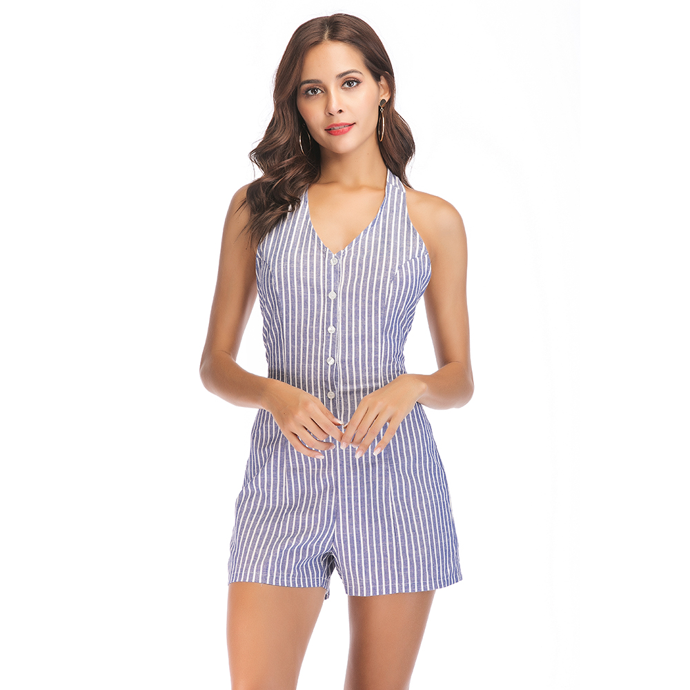 Selling Female Striped jumpsuit Deep V collar Backless Hanging neck Sexy jumpsuits Summer 2018 New cotton Womens Rompers Shorts