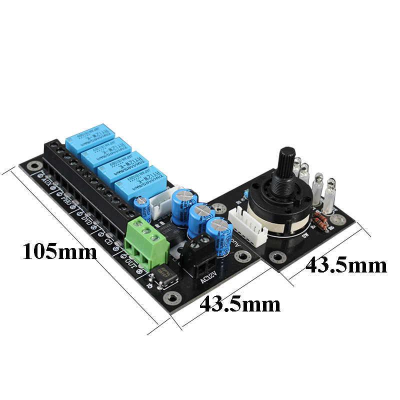 RCA Audio Switch Pilihan Input Papan 4 WAY Audio Switch Pilihan Input Papan Disesuaikan Sinyal Audio Papan Amplifier DIY