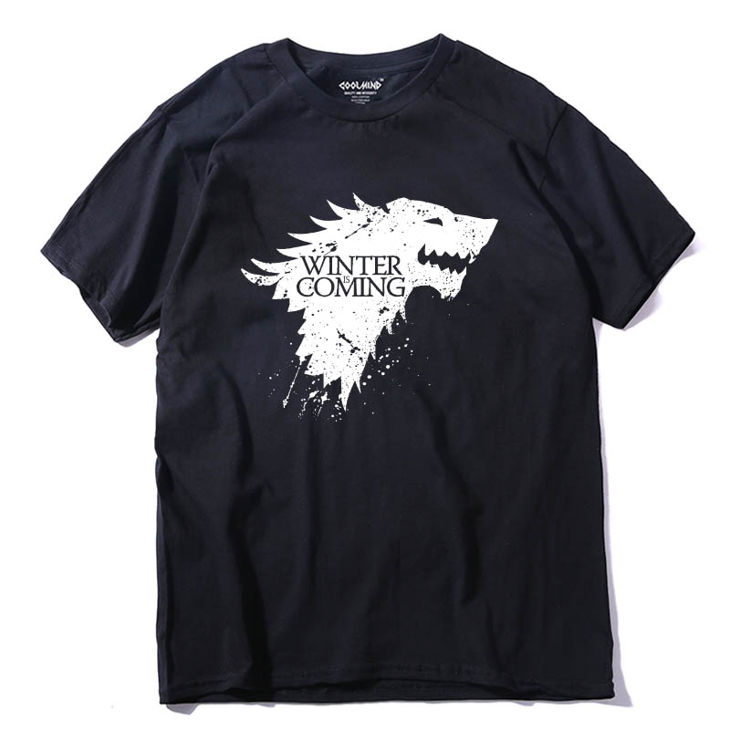 COOLMIND GA0111 Stark cotton short sleeve Game of Thrones Men   T  -  shirt   casual men tshirt Tops Tees WINTER IS COMING MEN   T     shirt