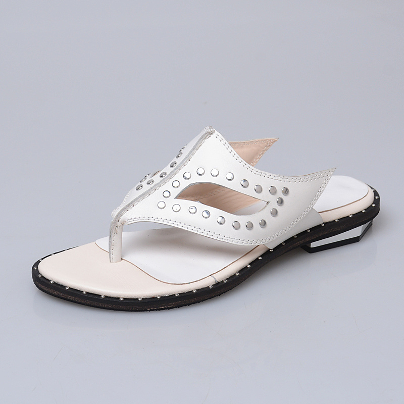 Prova Perfetto rivet stud solid color genuine leather summer slipper for women slip on cozy women flip flop outside causal shoes prova perfetto fashion new low heel flip flop shoes popular style mixed color genuine leather cozy women outside summer sandals