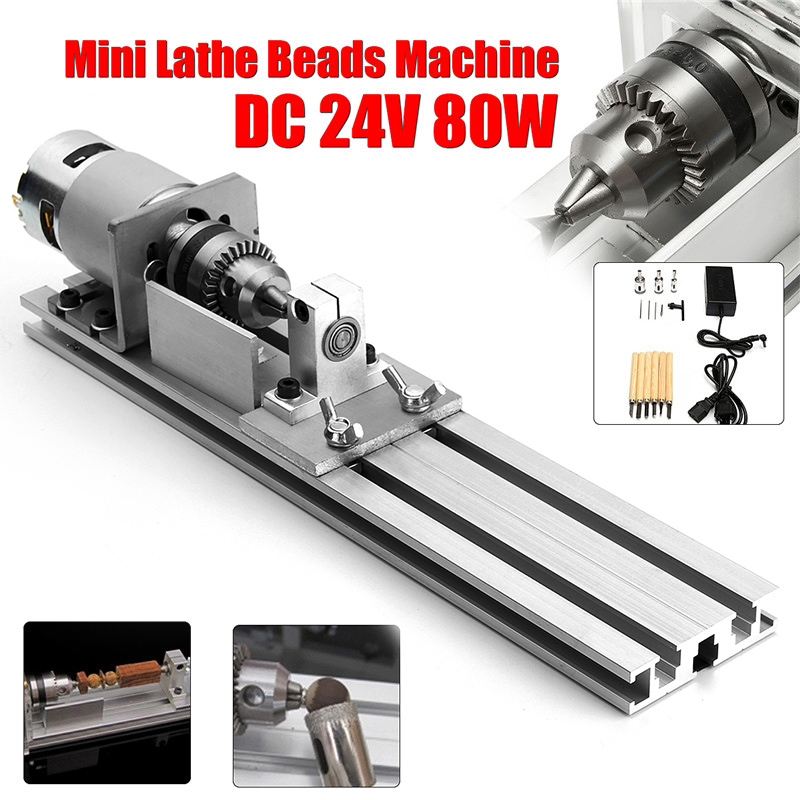 DC 24V Mini Lathe Beads Machine 80W Woodworking DIY Lathe Standard Set Cutting Polishing Drill Rotary Tool with Power Supply dc 3v 24v mini electric hand drill rotary tool diy 385 motor w 24v power supply g205m best quality