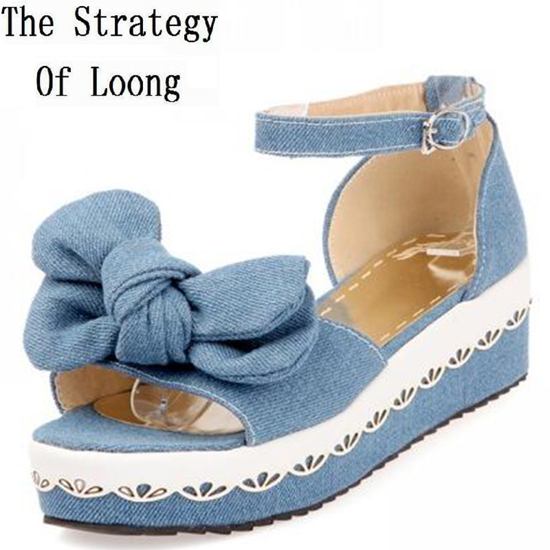 Wedges Chunky Heel Bowknot Open The Toe Jean Ankle Wrap Women Summer Sandals Lady Fashion Denim Peep Toe Shoes 35-39 SXQ0610 2018 summer new arrived strap design wedges women sandals peep toe comfort mid heel sexy lady sandal fashion student casual shoe