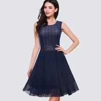 Yeni Moda Yaz Stil Kadın O-Boyun Kolsuz Pinup Salıncak A-line Elbise Zarif Örgü Parti Balo Elbise HA031