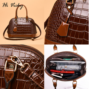 Image 2 - 2019 Famous brand design handbag women fashion Red tote bag high quality Patent leather shoulder handbag ladies office Shell bag