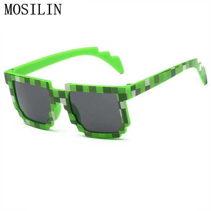 RILIXES kids Pixel Sunglasses Plaid Square Baby Glasses Children Minecraft Sun Glasses deal with it boys Brand Designer Eyewear