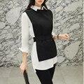 ZAWFL alta calidad otoño conjunto de 2 piezas Vintage asimétrico blanco camisa vestido + Delgado negro Chaleco de dos piezas conjunto traje