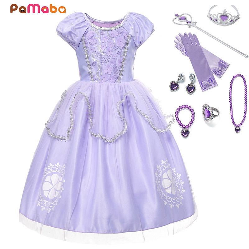 9c239699fe PaMaBa Girls Sofia The First Princess Cosplay Dresses Toddler Clothes  Appliques Crystal O-Neck Kids Summer Party Wear Frocks