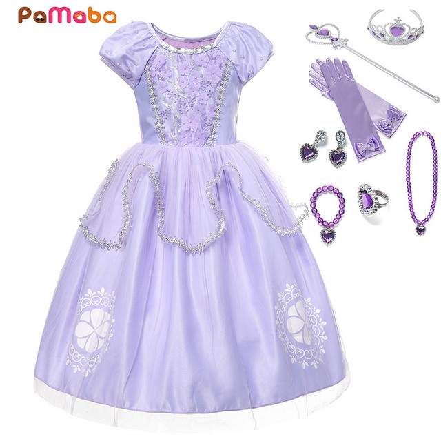 PaMaBa Girls Sofia The First Princess Cosplay Dresses Toddler Clothes  Appliques Crystal O-Neck Kids ab701b9643c3