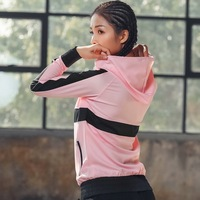 EF545 Hooded Sports Yoga Top Women Workout Jacket Running Zipper Jacket Fitness Tracksuits Training Long Sleeve Sweatshirt
