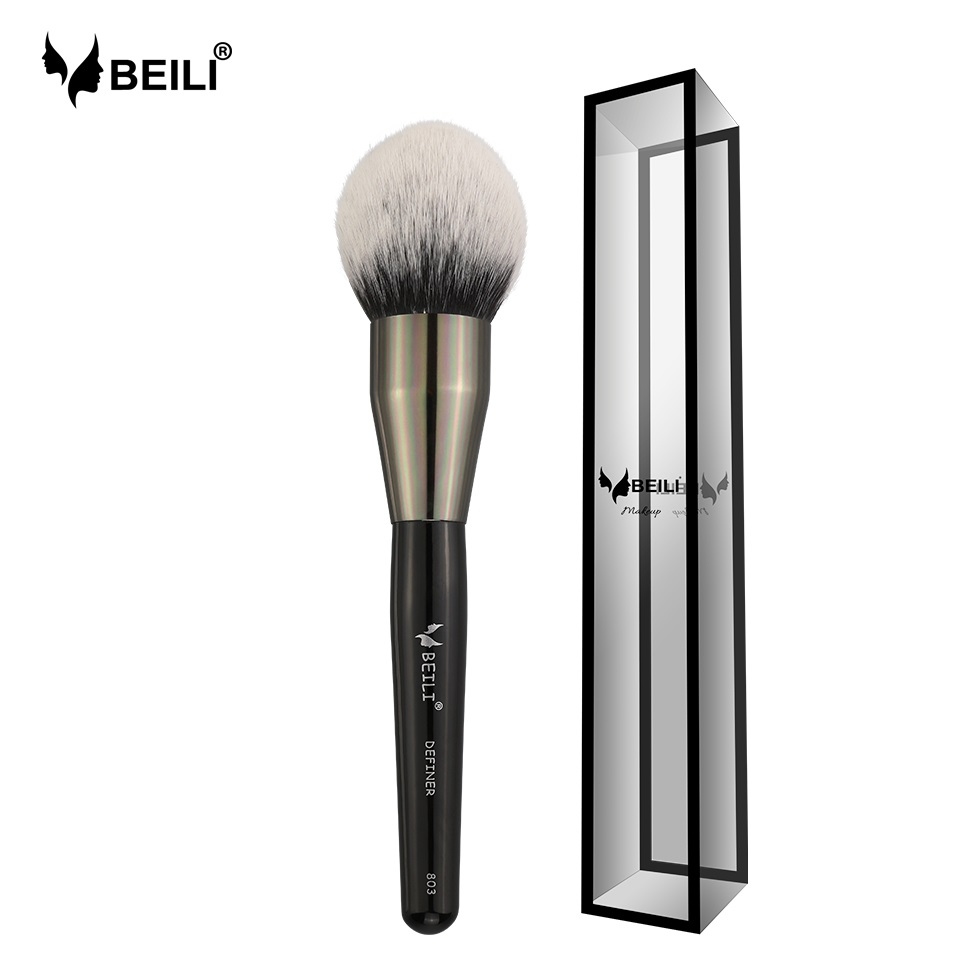 BEILI Black Big Powder Blush Definer soft Synthetic Hair Makeup Brushes Foundation Highlighter Fan Brush Eye Shadow Cruelty Free makeup brushes