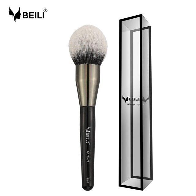 BEILI grande negro polvo Blush definidor de pelo sintético pinceles de maquillaje resaltador Fan cepillo ojo cepillo de sombra de mezcla Libre de crueldad