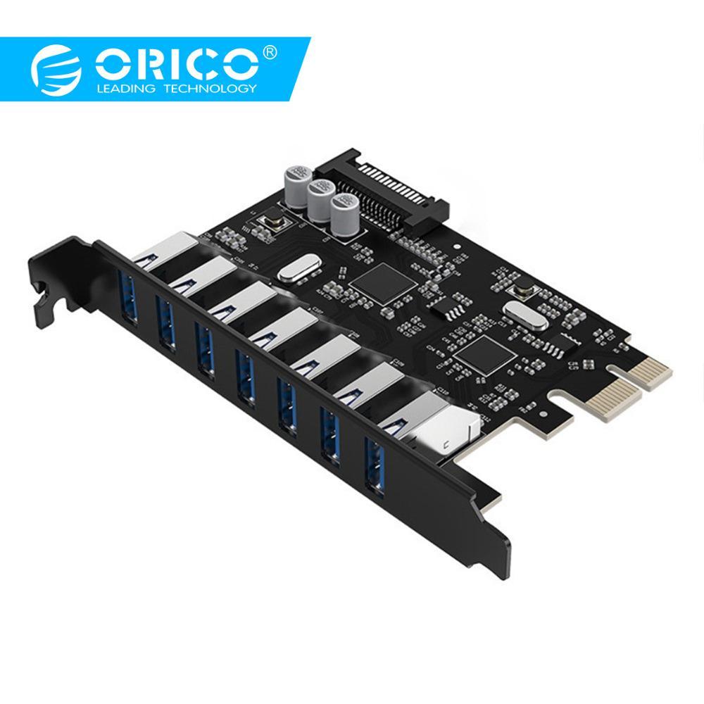 ORICO USB 3.0 7 Port PCI-E Express Card Sata To 15 Pin High Speed Extender Adapter Card Power Connector PVU3-7U-V1