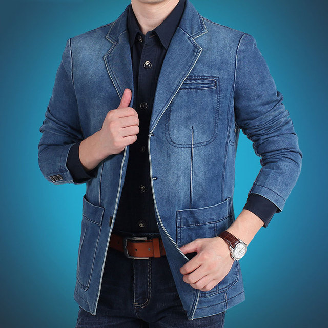 Europe and the United States the new men's fashion casual denim loose-line patch pocket suit jacket M-4XL AL7837