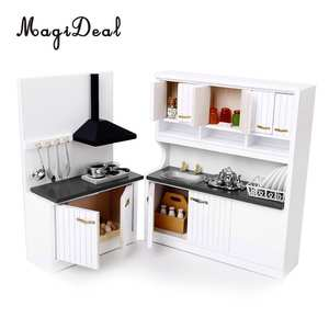 magideal dollhouse miniature furniture wooden children - Dollhouse Kitchen