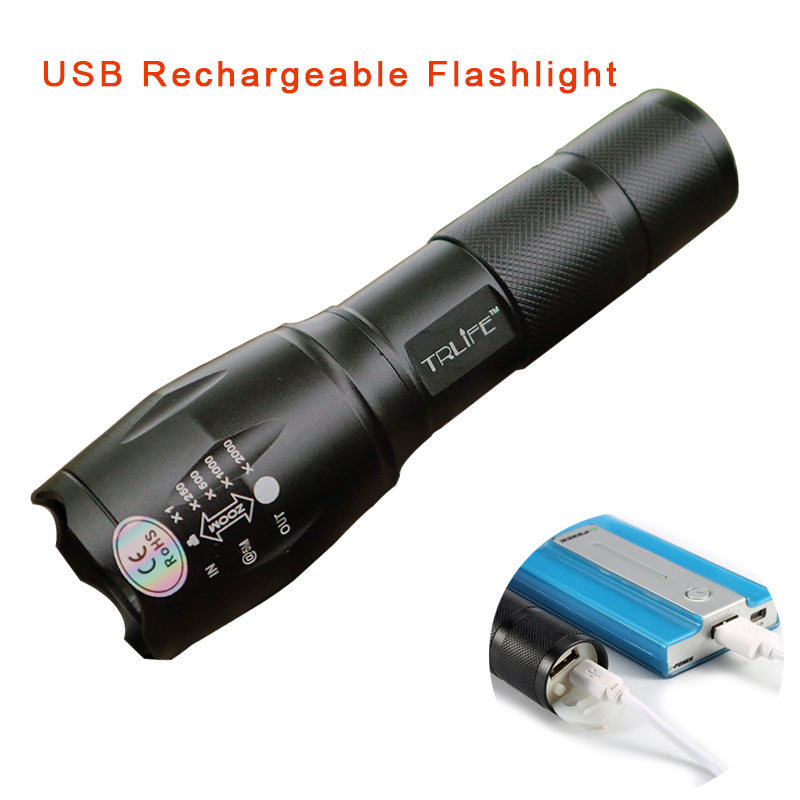 USB E17 8000LM 3 Mode CREE XM L L2 LED Flashlight Waterproof Lighting Zoomable Focus Torch