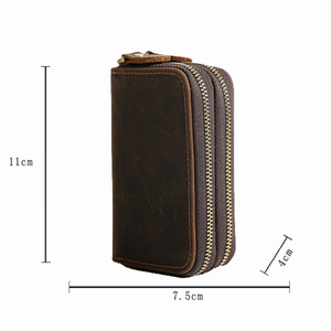 Image 5 - CICICUFF Genuine Leather Key Case Vintage Leather Car Key Wallets with 6 Key Holder Keys Organizer Housekeeper Pouch Men Large