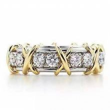 Choucong Jewelry Four Colour Brand 14KT gold filled Zircon CZ Yellow Gold Cross Eternal Band Wedding Rings for Women(China)