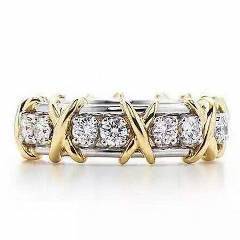 Choucong Monili Quattro Colori di Marca 14KT oro riempito Zircone CZ Oro Giallo Croce Eterna Wedding Band Anelli per le Donne
