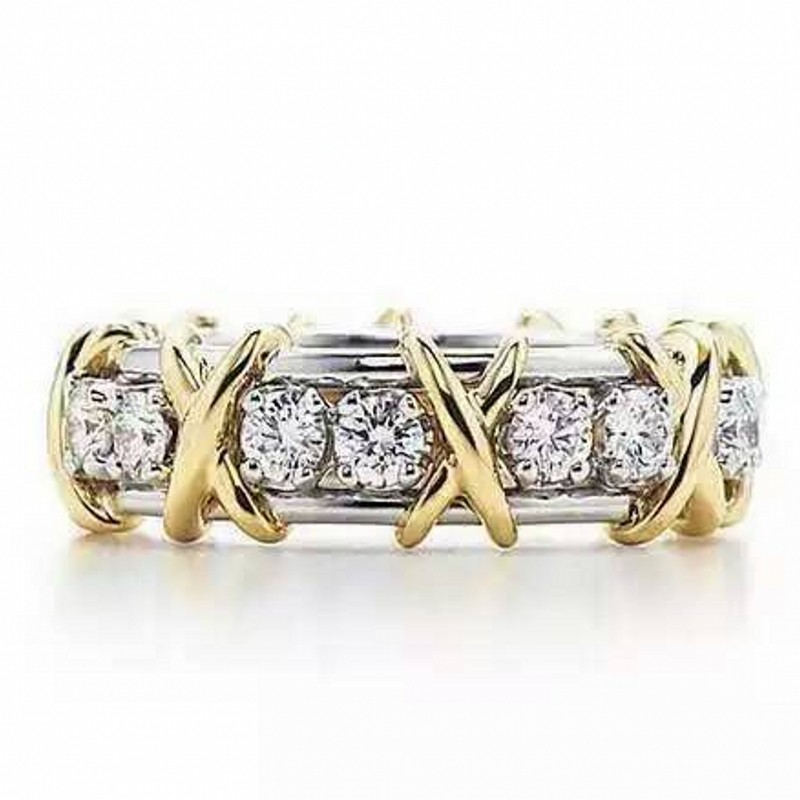 Choucong bijoux quatre couleurs marque 14KT or rempli Zircon CZ or jaune croix éternelle bande anneaux de mariage pour les femmes