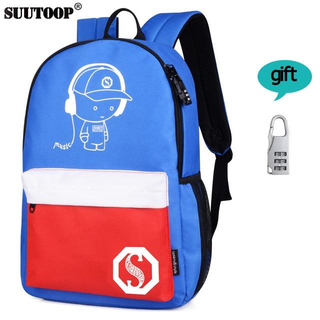 Online Shop USB Charge music canvas Backpack luminous pupils Good ...
