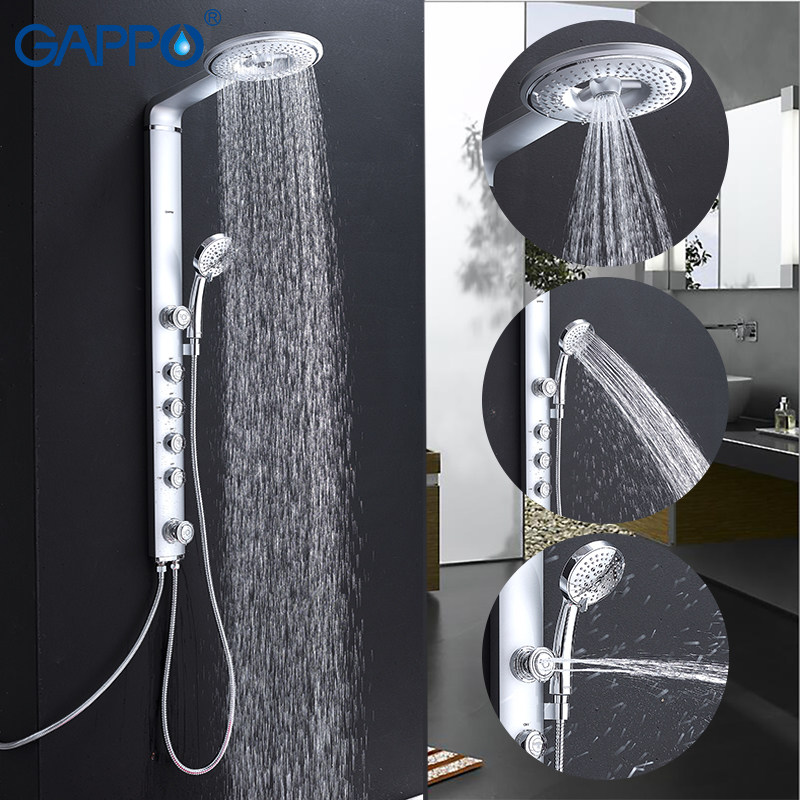 GAPPO Bathroom Shower Faucet Wall Shower Faucet Rainfall Thermostatic Mixer 1 Set ABS Panel Massage Bathtub