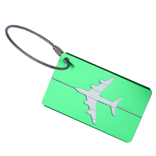 ShineTrip Rectangular aluminum alloy luggage card aircraft modeling luggage tag with wire rope key ring, green