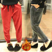 Childrens trousers casual boys and girls plus velvet gold sweatpants autumn winter thickening pants