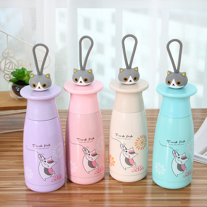 350ml Creative Japanese Cat Stainless Steel Thermos Water Bottle Portable School Children Thermos Coffee Mug Birthday