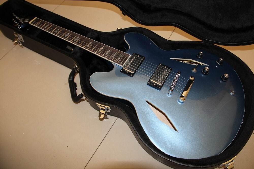 Free Hardcase Dave Grohl Signature Guitar DG 335 Electric Guitarra In Light Metallic Blue Finish 120415 new arrival dave grohl guitar dg 335 electric guitarra goldtop jazz style diamond holes metallic in gold 170920