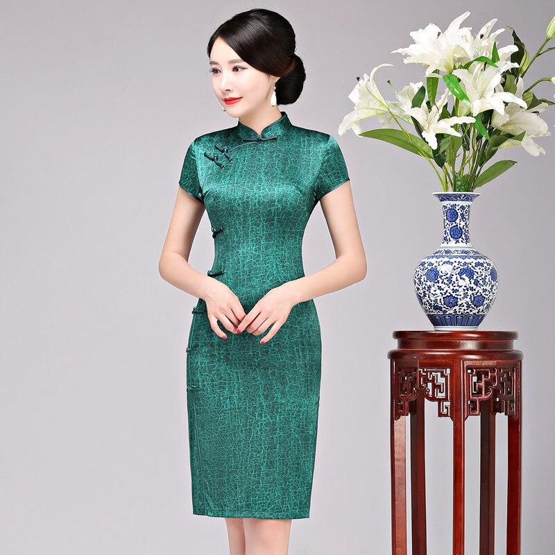2019 New Vintage Female Cheongsam Green Solid Silk Plus Size ...