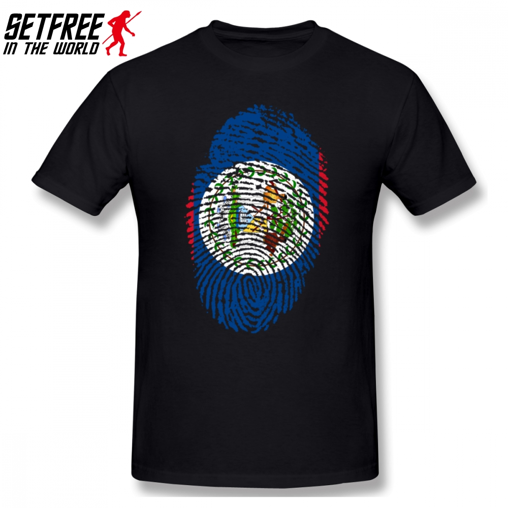 Adroit Belize Flag Fingerprint Men T Shirt New Geek 4xl 5xl 6xl O-neck Cotton Custom Short Sleeve T-shirts T-shirts