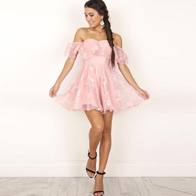 55fd29efac6a € 13.23 22% de DESCUENTO|2017 de hombro manga corta vestido de fiesta de  noche elegante banquete Mini vestido Formal vestido rosa negro WS1759T en  ...