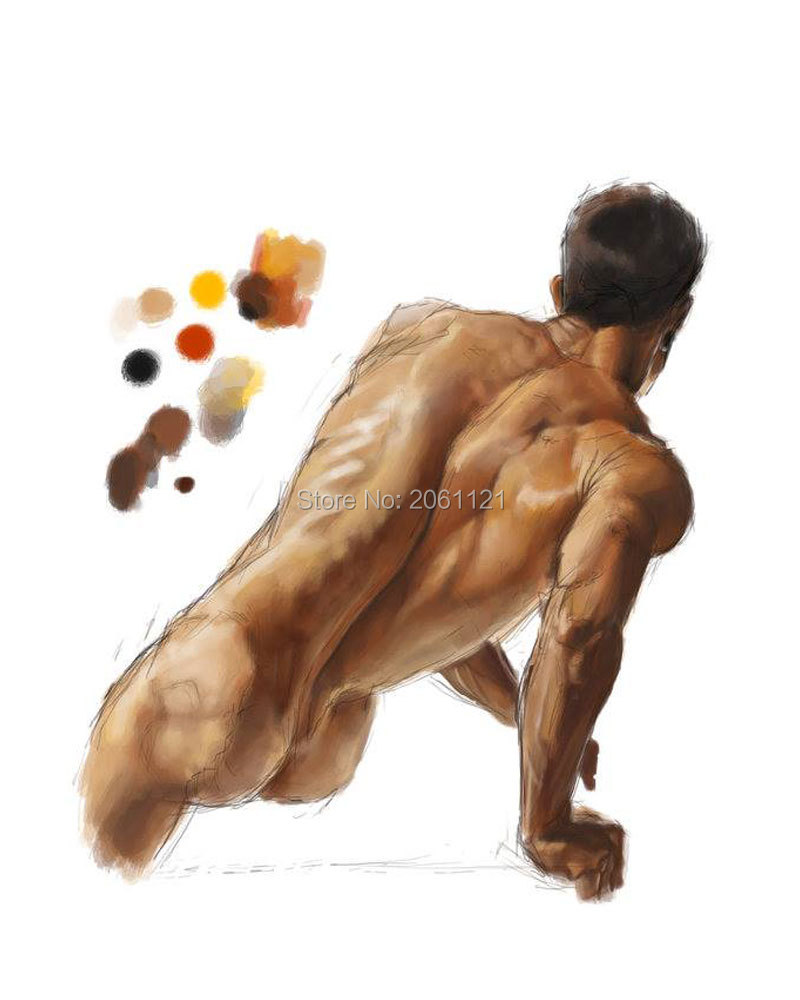 high quality hand painted modern figure wall canvas art <font><b>nude</b></font> man oil painting body painting