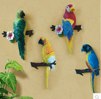 European 3D Resin Parrot Wall Stickers Painted Resin Coat Hooks Key Hook Beautiful Decorated Wall hangings Home accessories