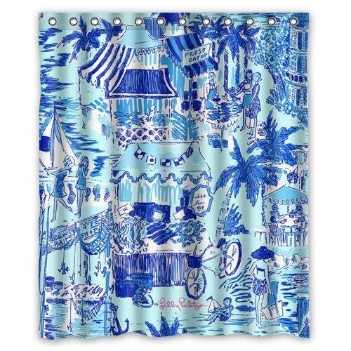 Lilly Pulitzer Summer Prints Blue Custom Shower Curtain 60 x 72