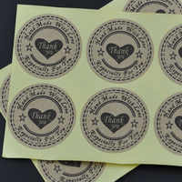 New! Wholesale 100pcs/lot Round 30mm Kraft Seal Sticker, 'Handmade with Love' Sticker, Thank you Hand made Kraft Paper etiquetas