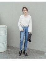 IFQ Jesień zima patchwork pomponem drążą zgrywanie jeans wysokiej talii kolor Denim jeans dla kobiet Walka mama jeans rip n dip C7