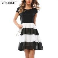 Bianco nero rappezzatura delle donne eleganti ufficio dress slim manica corta una linea mini dress girocollo partito formale donna dress e1140