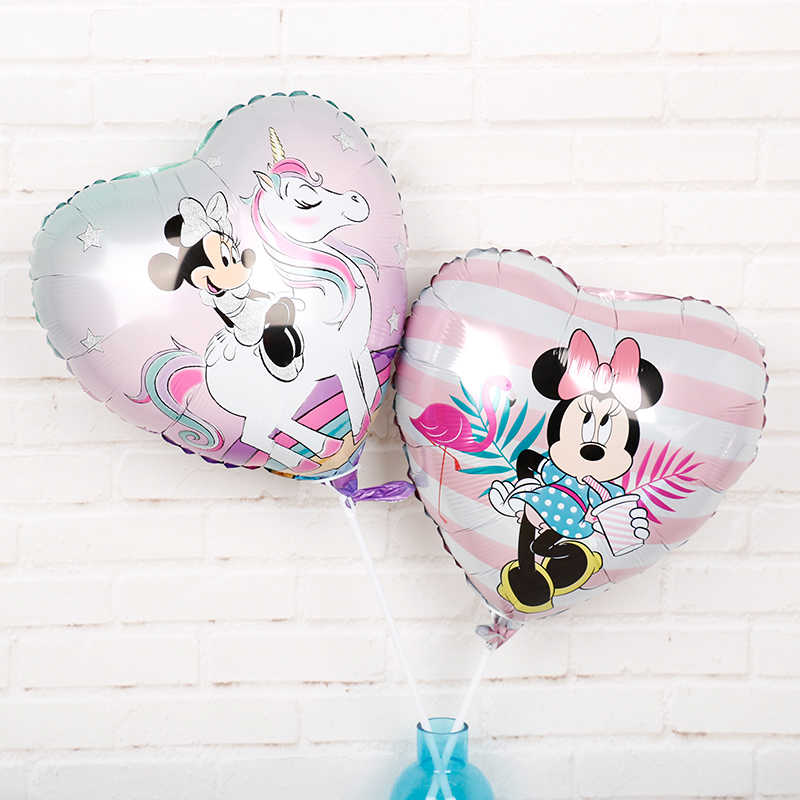 30pcs Minnie mouse birthday party decor baby shower helium ballon 18inch heart shape baby girl princess air globo lovely toys