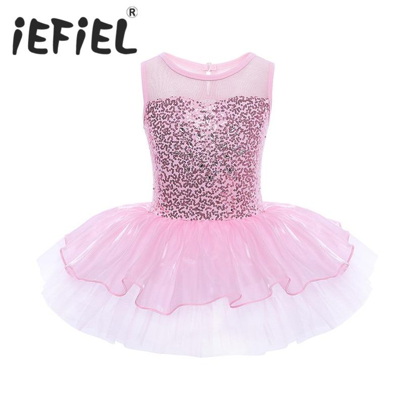 2018 Newest Fashion Sequins Sleeveless Cute Girl Leotard Toddler Ballet Tutu Dance Dress Kids Costume Performance Fancy Clothes