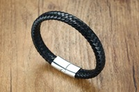 Fashion Jewelry Stainless Steel 2 Size Leather Bracelets For Men Hot Sales Charm Vintage Male Magnetic