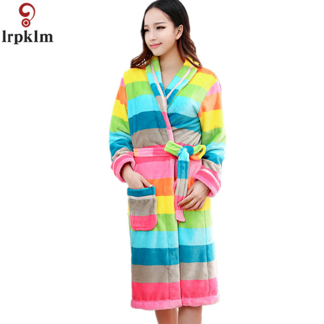 Women\'s Striped Robes For Women Full Sleeve Knitted Cotton Sleep ...