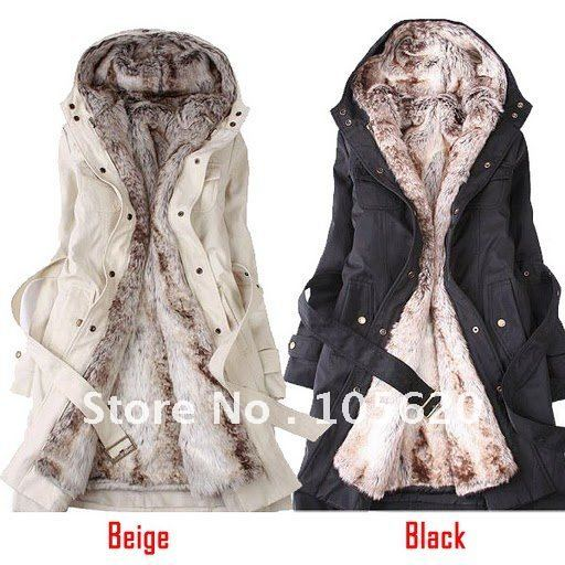 Winter fur lined hooded coat women long ladies faux fur jacket ...
