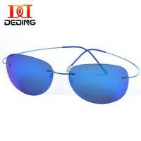 DEDING Mens Rimless Titanium Polarized Sunglasses Large Lens Super Light Frame Sun Glasses Mirroed Uv Protection