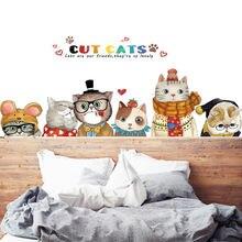 Милые Мультяшные кошки наклейки на стену домашний декор гостиная