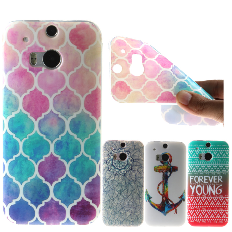 For HTC M8 Case Fashion flower butterfly oil painting fantasy Pattern IMD Soft TPU Silicon For